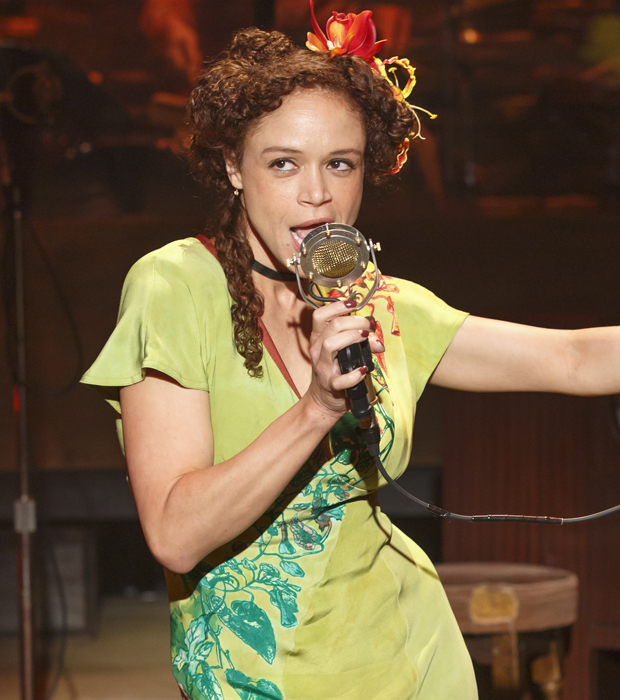 Amber Grey as Persephone in Hadestown at New York Theatre Workshop.