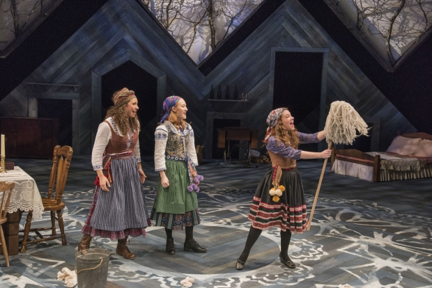 Abby Goldfarb, Sarah Oakes Muirhead, and Victoria Britt in Austin Pendleton's production of Fiddler on the Roof.