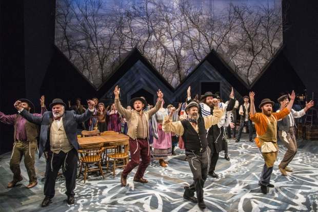 The cast of Fiddler on the Roof takes the stage at New Repertory Theatre.