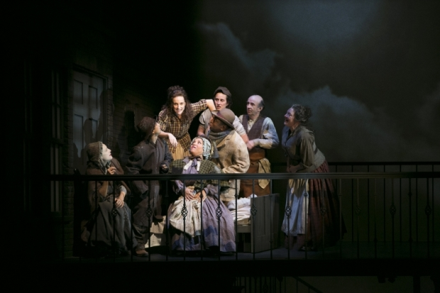 Tracee Chimo (center) and the company of Fingersmith on stage at American Repertory Theatre.