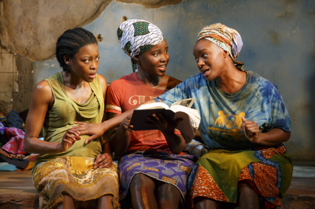 Lupita Nyong'o, Pascale Armand, and Saycon Sengbloh starred in Danai Gurira's Eclipsed, directed by Liesl Tommy, at the John Golden Theatre.