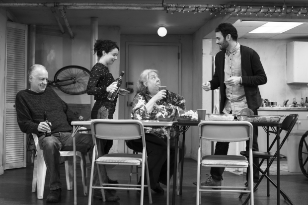 Reed Birney, Cassie Beck, Jayne Houdyshell, Sarah Steele, and Arian Moayed star in Stephen Karam's The Humans, directed by Joe Mantello, at Broadway's Schoenfeld Theatre.