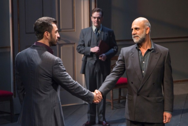 Michael Aronov, Jefferson Mays, and Anthony Azizi starred in J.T. Rogers' Oslo, a play about negotiations between Israel and Palestine, at the Mitzi E. Newhouse Theater.