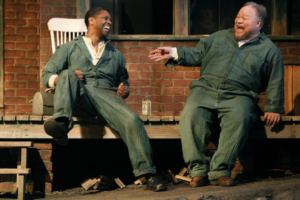 Denzel Washington (Troy Maxson) and Stephen McKinley Henderson (Bono) in Kenny Leon's 2010 Broadway revival of Fences.