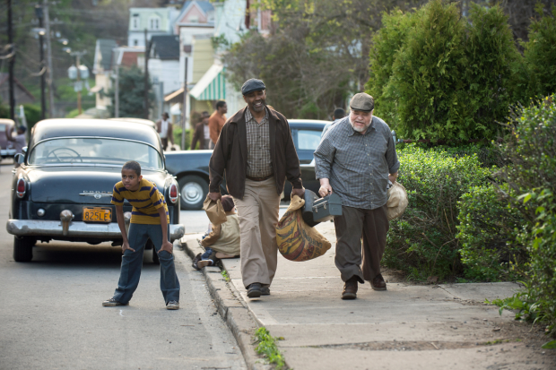 Denzel Washington (Troy Maxson) and Stephen McKinley Henderson (Bono) in Washington's new film of August Wilson's Fences.