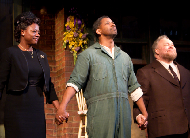 Viola Davis, Denzel Washington, and Stephen McKinley Henderson take a bow as August Wilson's Fences opens on Broadway in 2010.