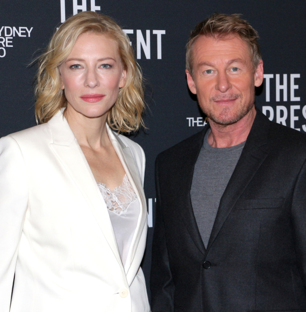 Cate Blanchett and Richard Roxburgh celebrate the opening of The Present this evening at the Barrymore Theatre.