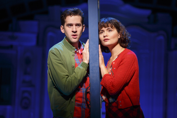 Adam Chanler-Berat and Phillipa Soo in Amélie, A New Musical at Center Theatre Group/Ahmanson Theatre.