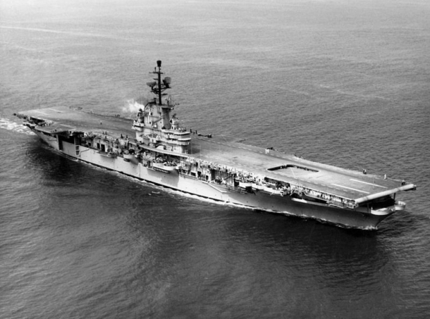 U.S. Navy aircraft carrier USS Intrepid in 1954.