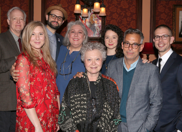 The family of The Humans: Reed Birney, Cassie Beck, Arian Moayed, Jayne Houdyshell, Lauren Klein, Sarah Steele, director Joe Mantello, and playwright Stephen Karam.
