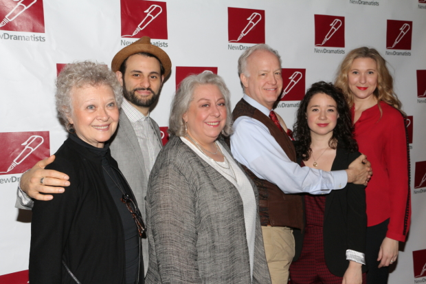 The stars of The Humans: Lauren Klein, Arian Moayed, Jayne Houdyshell, Reed Birney, Sarah Steele, and Cassie Beck.