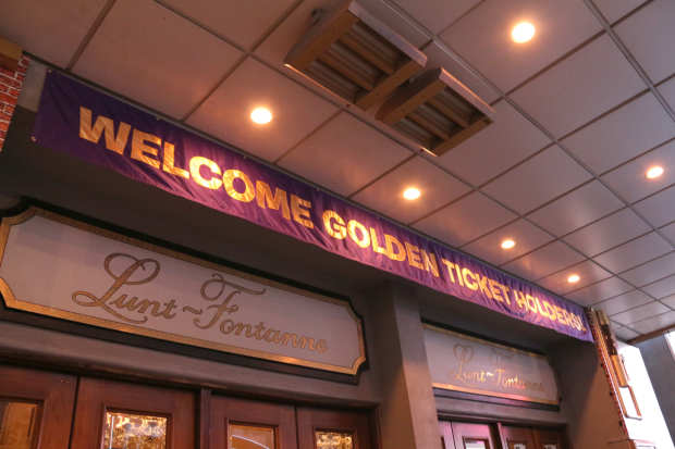 Golden Ticket-holders are welcomed to the Lunt-Fontanne Theatre.