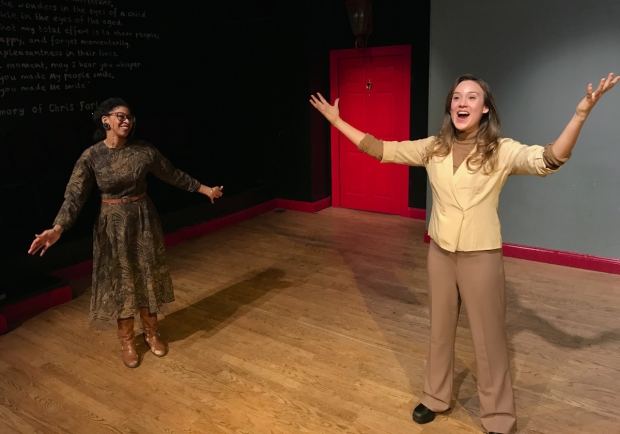 Maya Jackson and Alesandra Nahodil in Augie Praley's new play Looking Back, It May Not Have Been Ridgefield High's Best Production of Our Town, directed by Isaac Klein, at the Peoples Improv Theater.