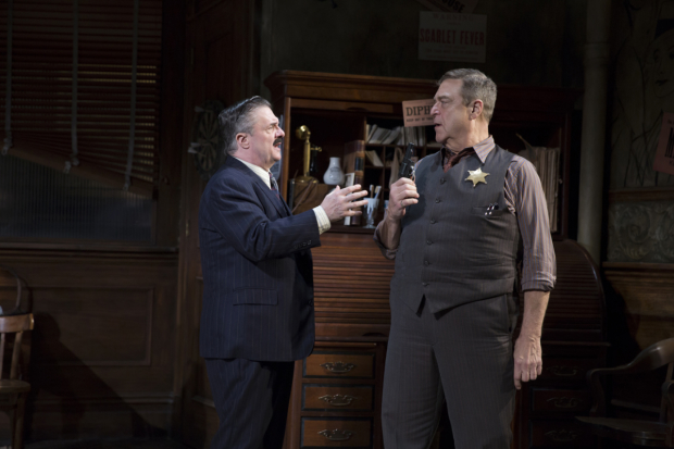 Nathan Lane and John Goodman in a scene from Broadway's The Front Page.