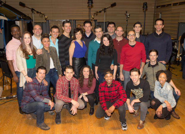 The cast of A Bronx Tale gather at the recording studio.