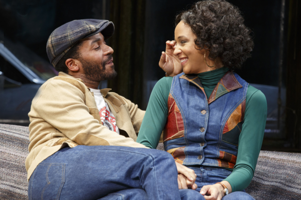 André Holland and Carra Patterson share a scene in August Wilson's Jitney, directed by Ruben Santiago-Hudson, now in performances on Broadway.