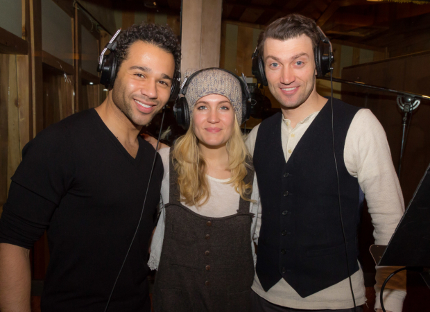Holiday Inn's Corbin Bleu, Lara Lee Gayer, and Bryce Pinkham record the prodution's cast album.