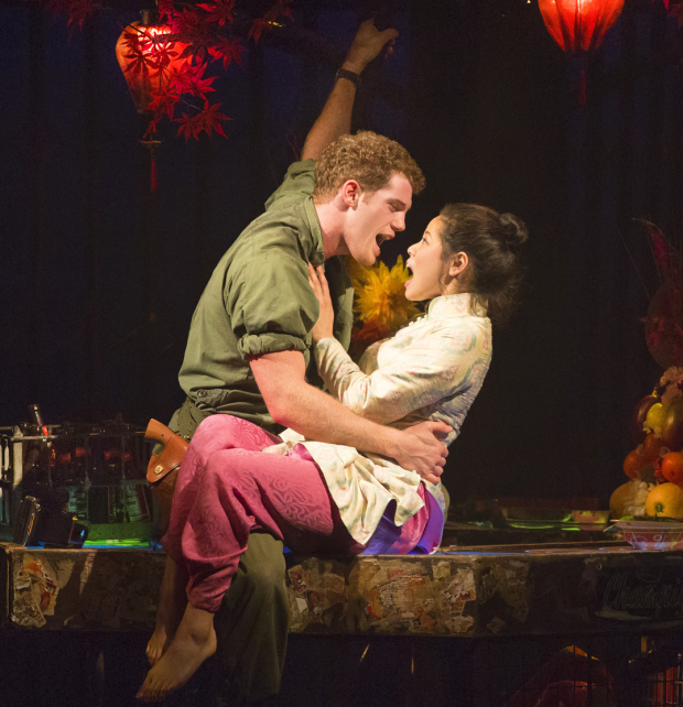 Alistair Brammer as Chris and Eva Noblezada as Kim in Miss Saigon.
