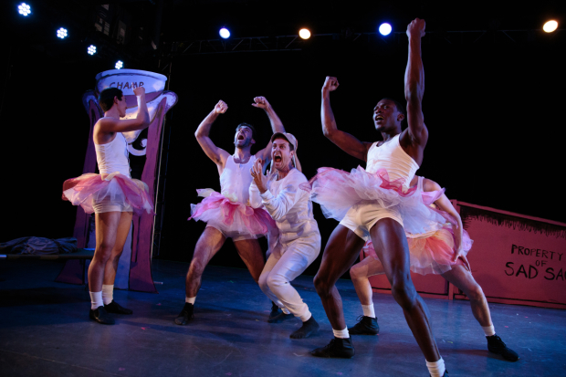 Sad Sack (Quinn Mattfeld, center) finds himself surrounded by basketball players in tutus in Blueprint Specials at the Intrepid.
