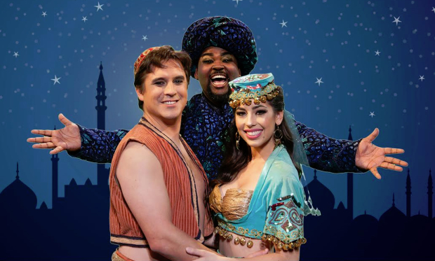 Michael Torrenueva (Aladdin), Lewis Powell III (Genie), and Sarah Kennedy (Princess Jazmin) in the dual language edition of Disney's Aladdin at CASA 0101 Theater.