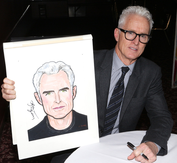 John Slattery shows off his new Sardi's caricature.