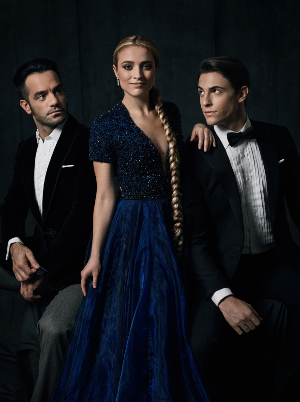 Christy Altomare (Anastasia) flanked by (left) Ramin Karimloo (Gleb) and (right) Derek Klena (Dmitry).