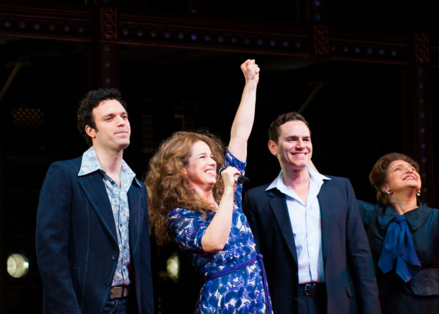 Jake Epstein, Chilina Kennedy, Paul Anthony Stewart, and Liz Larsen take a bow as Beautiful — The Carole King Musical celebrates the third anniversary of its opening night.