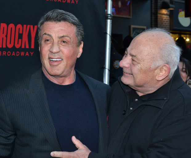 Sylvester Stallone and Burt Young at the 2014 Broadway opening of Rocky.