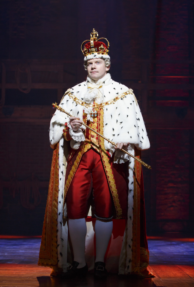 Rory O'Malley as King George in Broadway's Hamilton.
