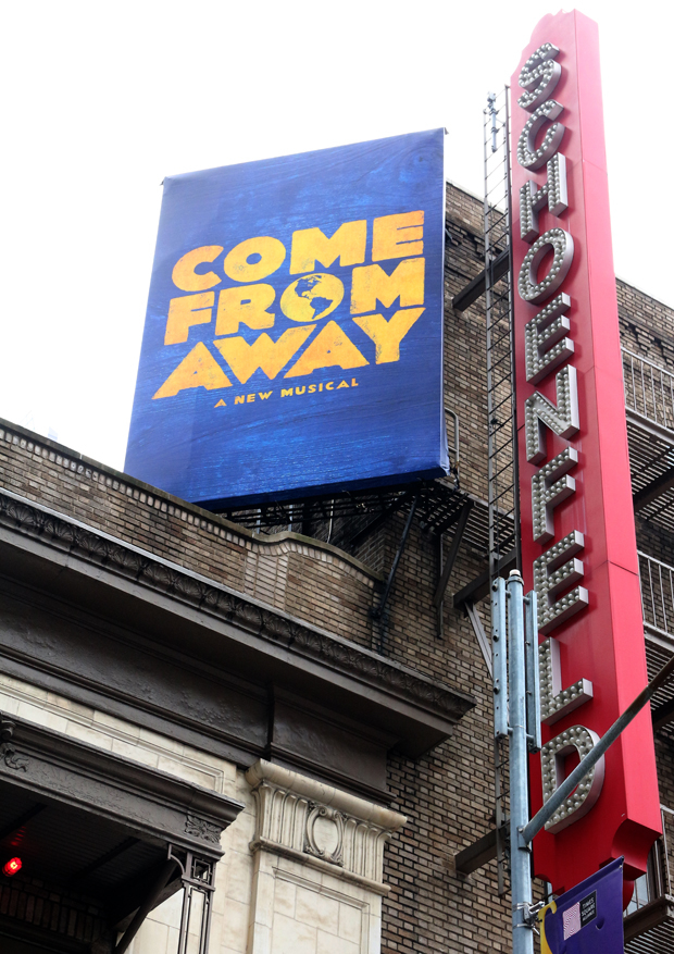 A poster high atop the Schoenfeld Theatre.