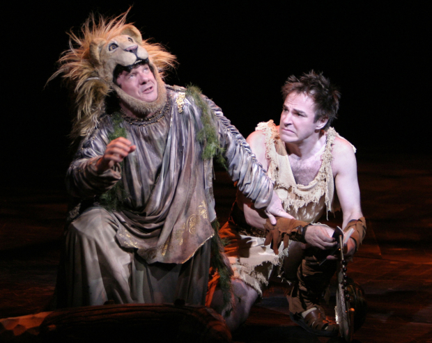 Nathan Lane and Roger Bart in Lincoln Center Theater's 2004 production of The Frogs, based on Aristophanes play, with music and lyrics by Stephen Sondheim, and choreography and direction by Susan Stroman.