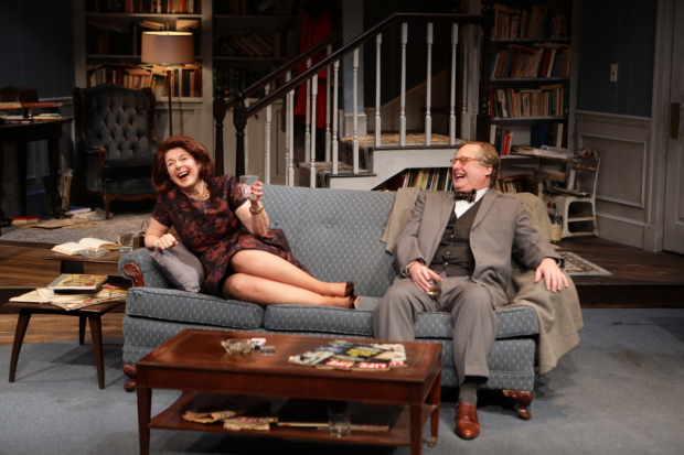 Paula Plum and Steven Barkhimer as Martha and George in Who's Afraid of Virginia Woolf?, directed by Scott Edmiston, at Lyric Stage Company.
