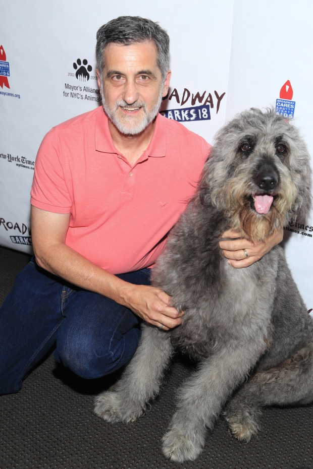 Bill Berloni with Bowdie, who plays the title character in Because of Winn-Dixie, at the 2016 Broadway Barks event.