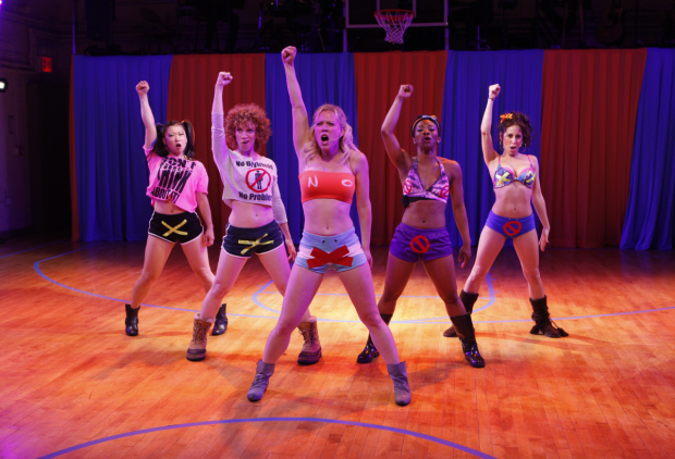 Above: Katie Boren, Lindsay Chambers, Patti Murin, LaQuet Sharnell, and Kat Nejat in Transport Group's 2011 production of Lysistrata Jones.