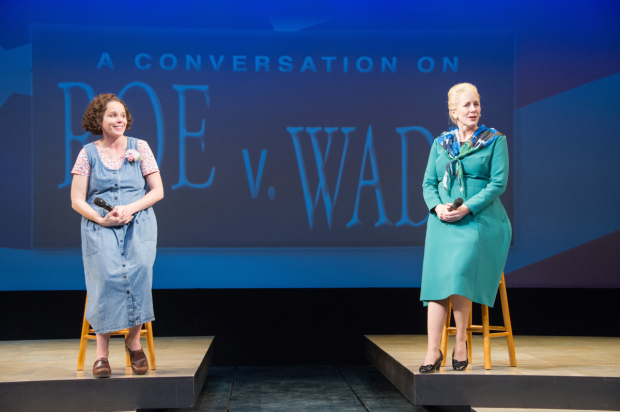 Sara Bruner (Norma McCorvey) and Sarah Jane Agnew (Sarah Weddington) in Roe, directed by Bill Rauch, at Arena Stage.