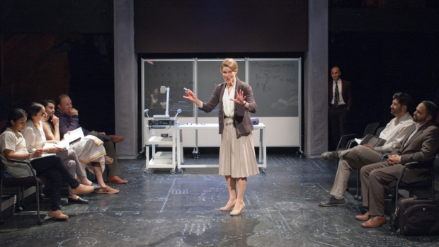 Juliet Hart as Ruth in A Disappearing Number, conceived and directed by Simon McBurney, as TimeLine Theatre Company.