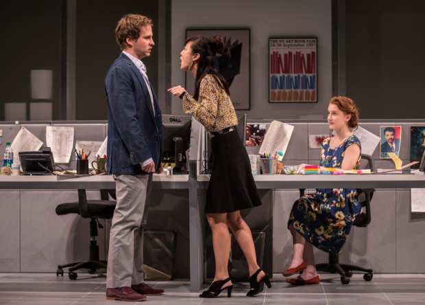 Ryan Spahn (Dean), Jennifer Kim (Kendra), and Catherine Combs (Ani) in Gloria, directed by Evan Cabnet, at the Goodman Theatre.