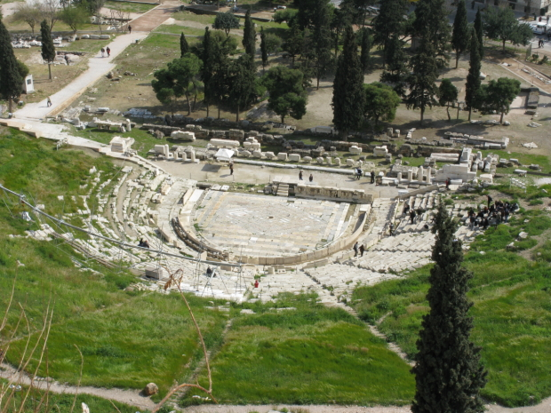 Some of Aristophanes plays were performed at the Theater of Dionysus, in Athens. The theater is believed to have provided seating for about 10,000 audience members.