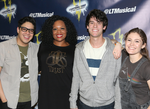 George Salazar, Carrie Compere, Chris McCarrell, and Kristin Stokes star in The Lightning Thief: The Percy Jackson Musical.