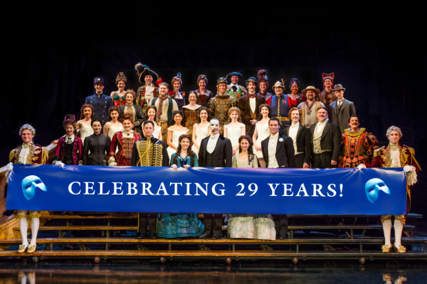 The cast of The Phantom of The Opera celebrates 29 years on Broadway at the Majestic Theatre.