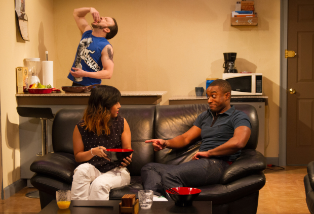 Eric T. Miller, Jennifer Tsay, and RJ Brown star in Paul Cameron Hardy's Mope, directed by RJ Tolan, at Ensemble Studio Theatre.
