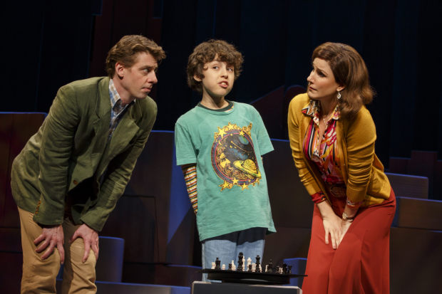 Christian Borle, Anthony Rosenthal , Stephanie J. Block in the Broadway revival of Falsettos.