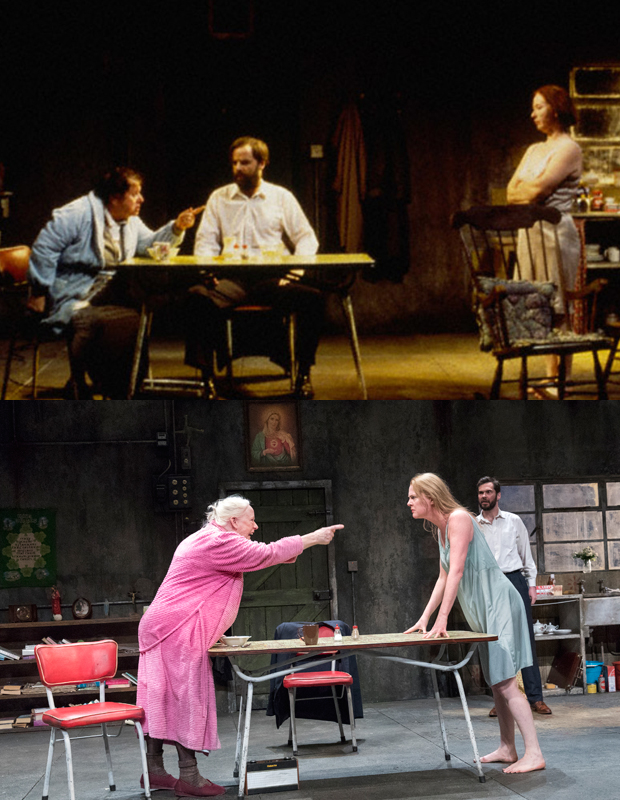 Anna Manahan as Mag Folan, Brían F. O'Byrne as Pato Dooley, and Marie Mullen as Maureen Folan in the original Broadway production of The Beauty Queen of Leenane (top); Marie Mullen as Mag Folan, Aisling O'Sullivan Maureen Folan, and Marty Rea as Pato Dooley in the 20th Anniversary revival at Brooklyn Academy of Music (bottom).
