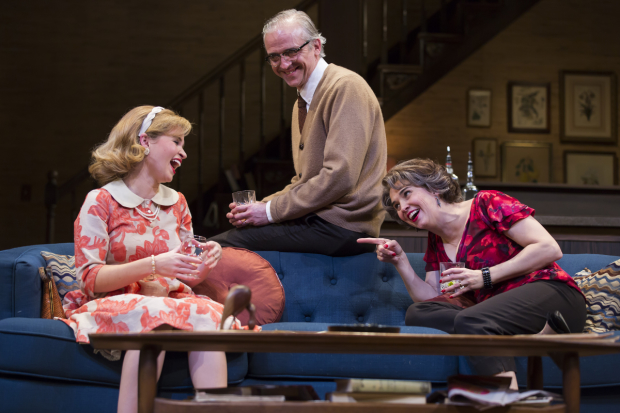Maggie Wilder as Honey, Gregory Linington as George, and Holly Twyford as Martha in Edward Albee's Who's Afraid of Virginia Woolf, directed by Aaron Posner, at Ford's Theatre.