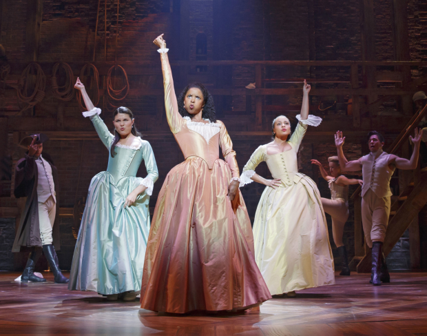 Phillipa Soo, Renée Elise Goldsberry, and Jasmine Cephas Jones in Hamilton.