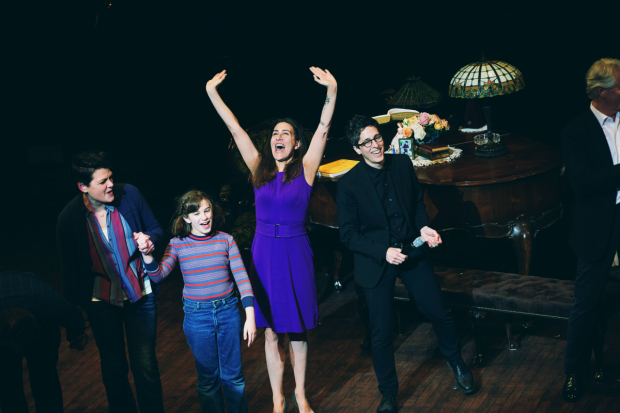 Kate Shindle, Alessandra Baldacchino, Jeanine Tesori, and Alison Bechdel celebrate opening night of Fun Home, directed by Sam Gold, at San Francisco's Curran Theatre.