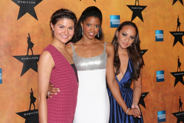 Phillipa Soo, Renée Elise Goldsberry, and Jasmine Cephas Jones on the opening night of Hamilton on Broadway.