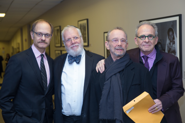 David Hyde Pierce, Zalmen Mlotek, Joel Grey, and Ron Rifkin backstage at the community reading of Elie Wiesel's Night.