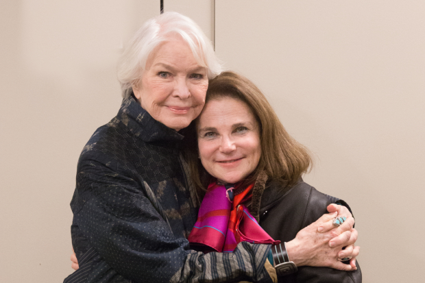 Ellen Burstyn and Tovah Feldshuh share an embrace at the Museum of Jewish Heritage.