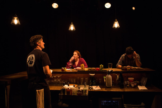 Noel Joseph Allain, Julia Sirna-Frest, and Jorge Cordova star in Kate Benson's [Porto], directed by Lee Sunday Evans, at the Bushwick Starr.